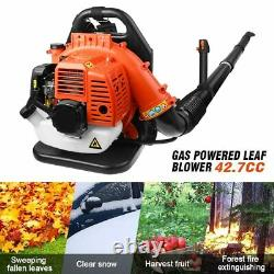 42.7CC 2 Stroke Gas Powered Backpack Leaf Blower for Lawn Leaves Debris Blowing