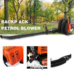 63CC 3.2HP 2Stroke Gas Backpack Leaf Blower Powered Debris Padded Harness 1.7L