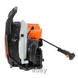 63CC 3HP 2 Stroke Gas Leaf Backpack Blower Powered Leaf Blower Harness Orange US