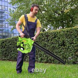 63cc 3HP High Performance Gas Powered Back Pack Leaf Blower 2 Stroke Red Green