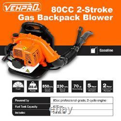 80CC 3.2HP 2Stroke Gas Backpack Leaf Blower Powered Debris Padded Harness USA
