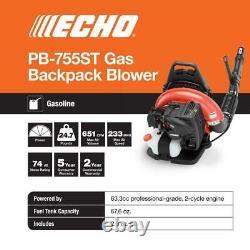 ECHO Backpack Leaf Blower Tube Throttle 651 CFM 63.3cc Gas 2-Stroke Cycle