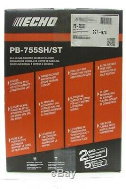 Echo PB-755SH 233 MPH 651 CFM 63.3cc Gas 2-Stroke Cycle Backpack Leaf Blower