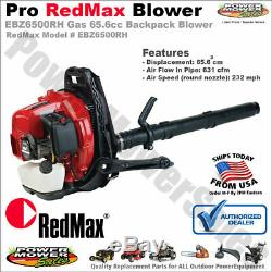 Genuine RedMax Gas Powered Backpack Leaf Blower 65.6cc 232 MPH 631 CFM EBZ6500RH