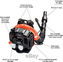 Leaf Blower with Tube Throttle Gas 2 Stroke Cycle Backpack 214 MPH 535 CFM 63.3 cc