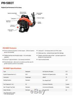NEW ECHO PB-580T Back pack Leaf Blower Tube Throttle 215 MPH 510 CFM 58.2cc Gas