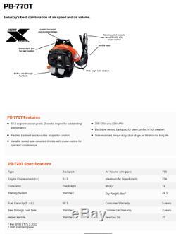 NEW Echo PB-770T 234 MPH 765 CFM Gas Professional Backpack Leaf Blower PB770