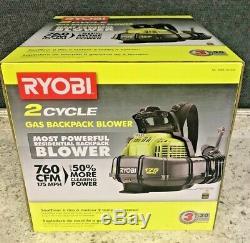 NEW RYOBI 175 MPH 760 CFM 38cc GAS BACKPACK LEAF BLOWER RY38BPVNM