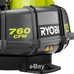 RYOBI Gas Backpack Leaf Blower 175 MPH 760 CFM 38cc Adjustable Speed