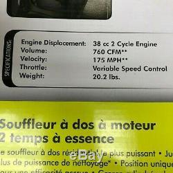 Ryobi 2 Cycle 38cc 175 MPH Gas Backpack Leaf Blower 760CFM New in box Sec-a