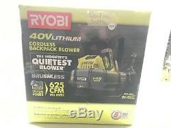 Ryobi 40V BRUSHLESS 625 CFM BACKPACK LEAF BLOWER RY40404 C567 LOT 0938