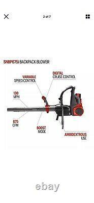 Snapper 58-Volt Cordless 675 CFM 130 MPH Backpack Leaf Blower (Battery included)